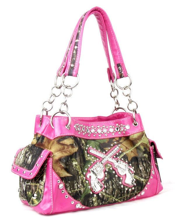 Western Pink Camouflage Gun Pistol Rhinestone Purse Handbag