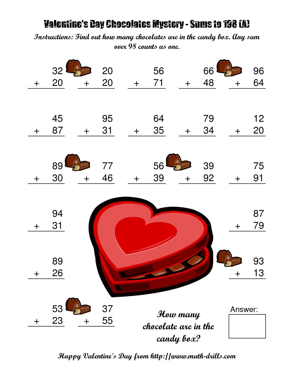 math worksheet : the chocolates mystery two digit plus two digit addition a math  : Valentines Day Math Worksheets