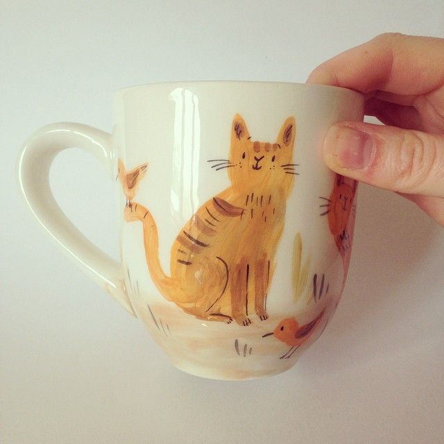 We'll be listing 10 mugs and 2 plates today £20 each! But if you miss them don't worry we've just put in a rather large order to our bisque supplier. So look out for more cats, foxes, badgers and maybe bears! #cat #etsy #ceramic #bisque #handpainted #illustration