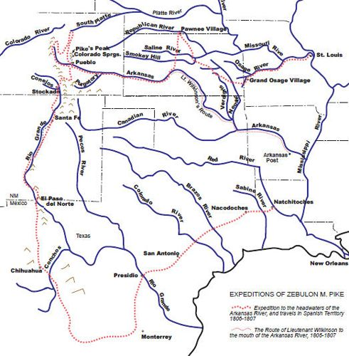 The Pike Expedition | American History | Zebulon pike, America ... Zebulon Pike Routes On Map on juan rodríguez cabrillo route map, george washington route map, cabot route map, wagon train route map, juan ponce de león route map, coronado route map, juan bautista de anza route map, ferdinand magellan's route map, daniel boone route map, meriwether lewis map, sacagawea route map, benjamin bonneville route map, pike expedition map, paul revere route map, christopher columbus route map, jedediah smith route map, louis jolliet route map, james cook route map, juan de onate route map, jean nicolet route map,
