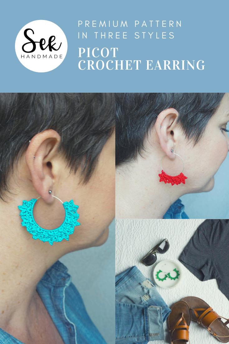 Picot Crochet Earring Pattern, Crochet Jewelry Pattern, Summer Crochet, Crochet Gifts