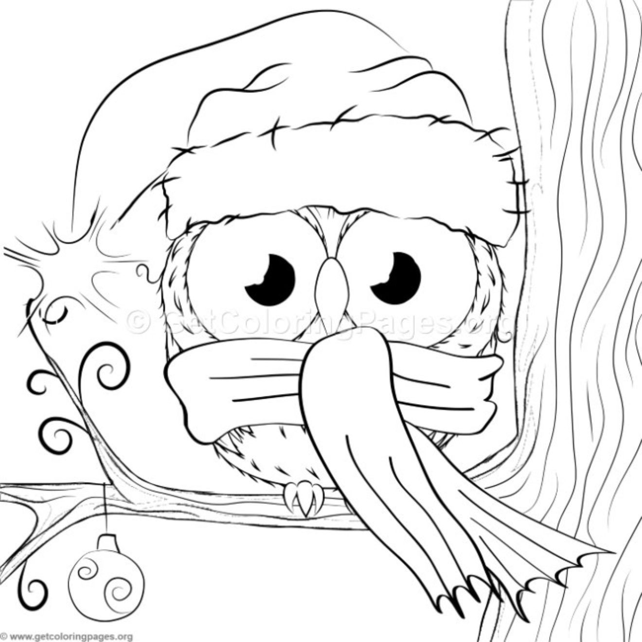 Cute Christmas Owl 1 Coloring Pages Getcoloringpages Org Owl Coloring Pages Christmas Coloring Sheets Christmas Owls