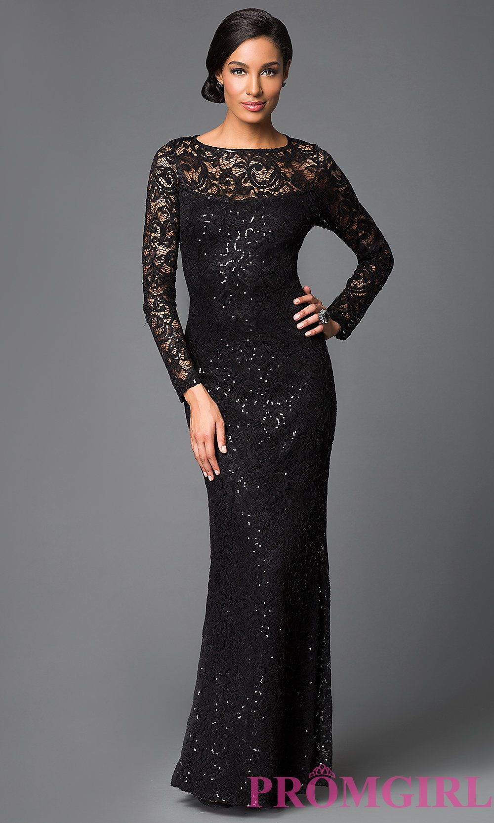 Image of long sleeve floor length sequin embellished lace dress ...