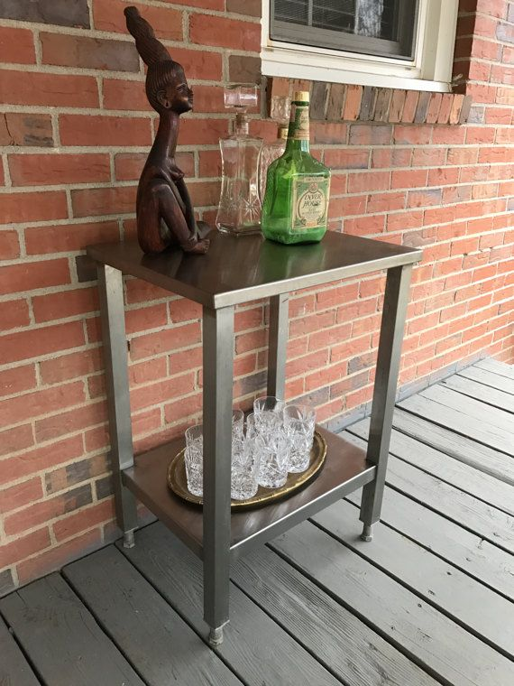 Vintage Stainless Steel Work Table Repurpossed Bar