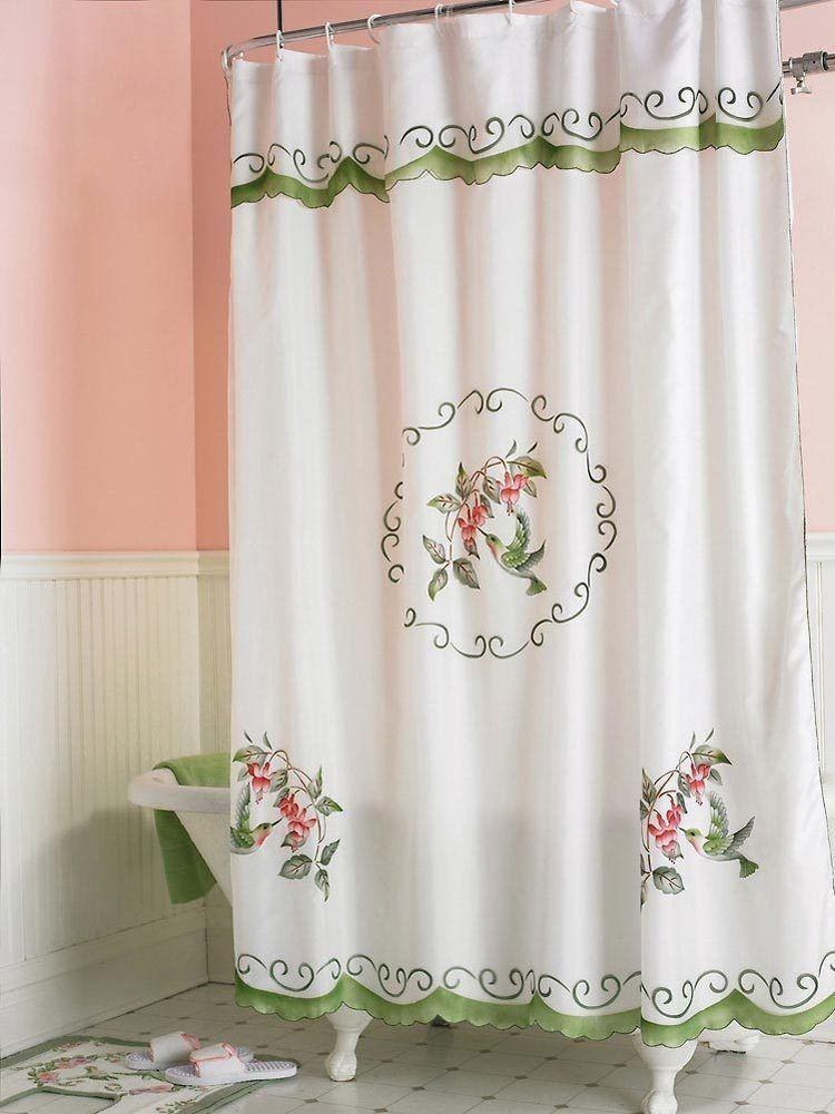 Fabric Hummingbird Bathroom 3d Shower Curtain With Attached