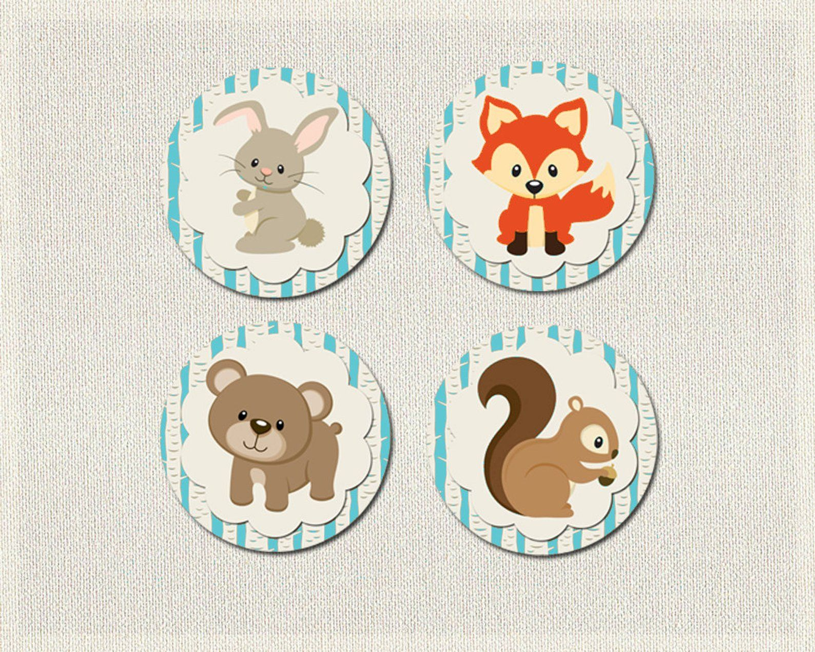 Baby Shower Package woodland animals blue Gender Neutral
