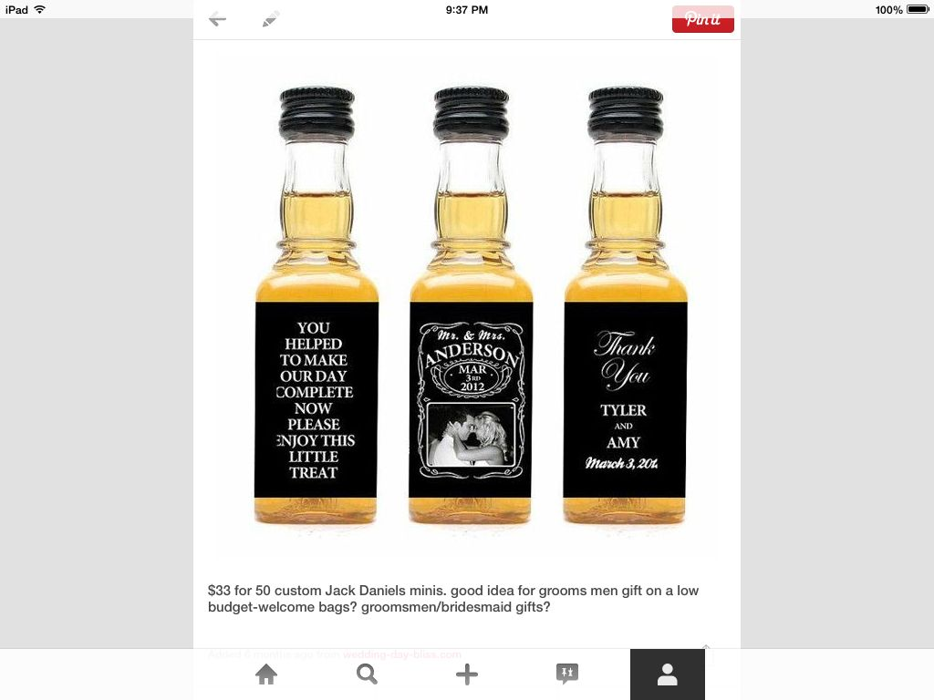 $30 for 50 custom jack Daniels minis- Men\'s Gift? | Wedding Ideas ...