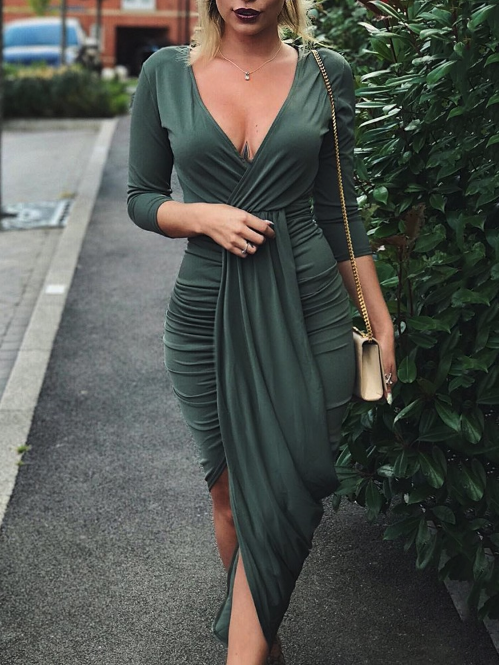 cb86fc9884 Deep V Ruched Tulip Hem Party Dress in 2019 | Clothes | Dresses ...