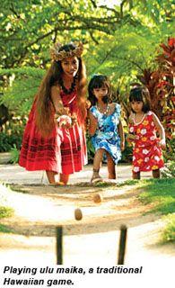 Hawaiian Luau Party Games - 'Ulu Maika  Put two wooden