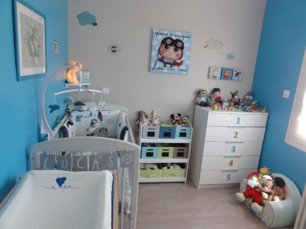 chambre bébé garçon bleu gris | Chambre bébé garçon, Bébé garçon ...