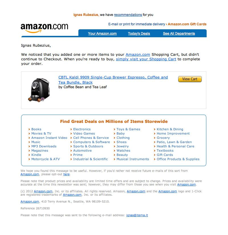 Amazon Abandoned Cart Email Shopping Cart Abandonment Emails - sending invoices by email