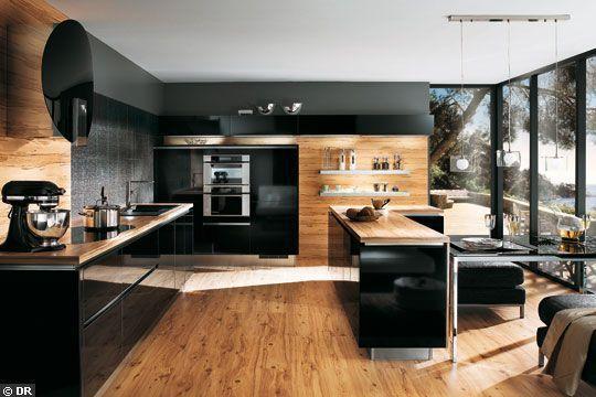 Armoires de cuisine moderne placage de noyer et acrylux noir ...