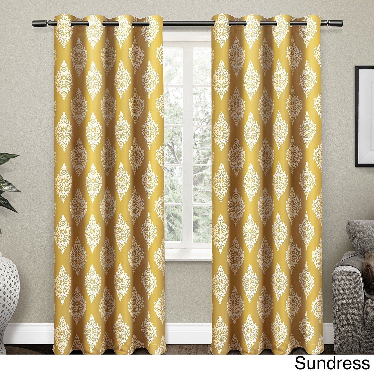 96 Inch Sundress Yellow White Medallion Curtains Panel Pair Set Gold Color Moroccan Drapes Damask Pattern Trellis Window Treatments Luxury