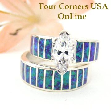 Size 7 Purple Fire Opal Bridal Wedding Engagement Ring Set Native American Indian Jewelry WS 1429