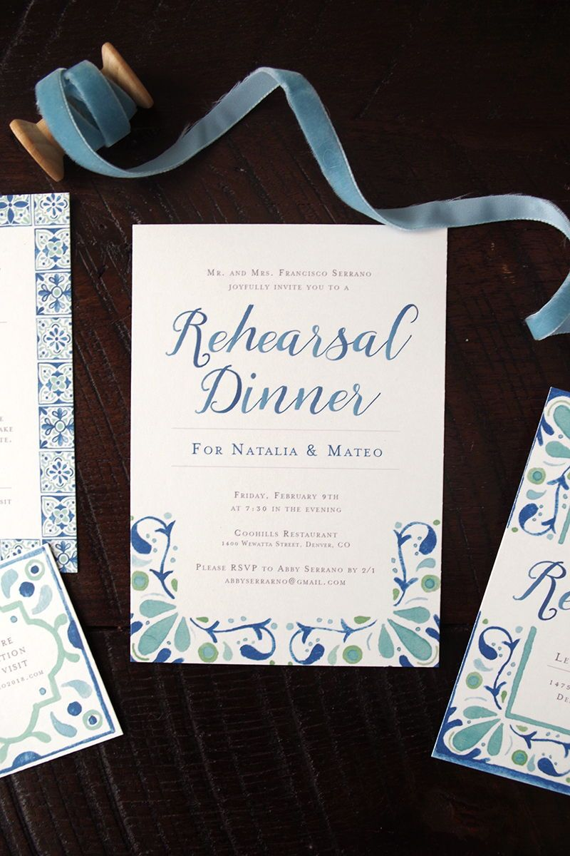 Watercolor Spanish Tile Wedding Invitation Suite In A Blue And Green