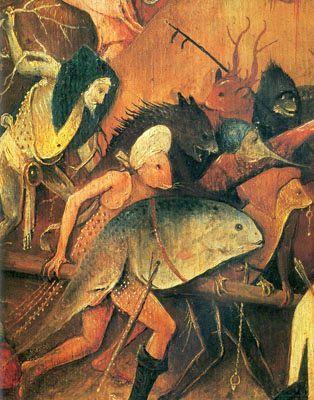 Heuwagen - Triptychon - Mitteltafel Der Heuwagen - Detail von Hieronymus Bosch