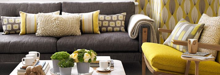 Grey and yellowliving rooms click here to see the full for Living room ideas mustard