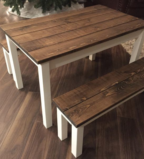 Children Farmhouse Table And Benches Kids Wooden Table Diy Kids