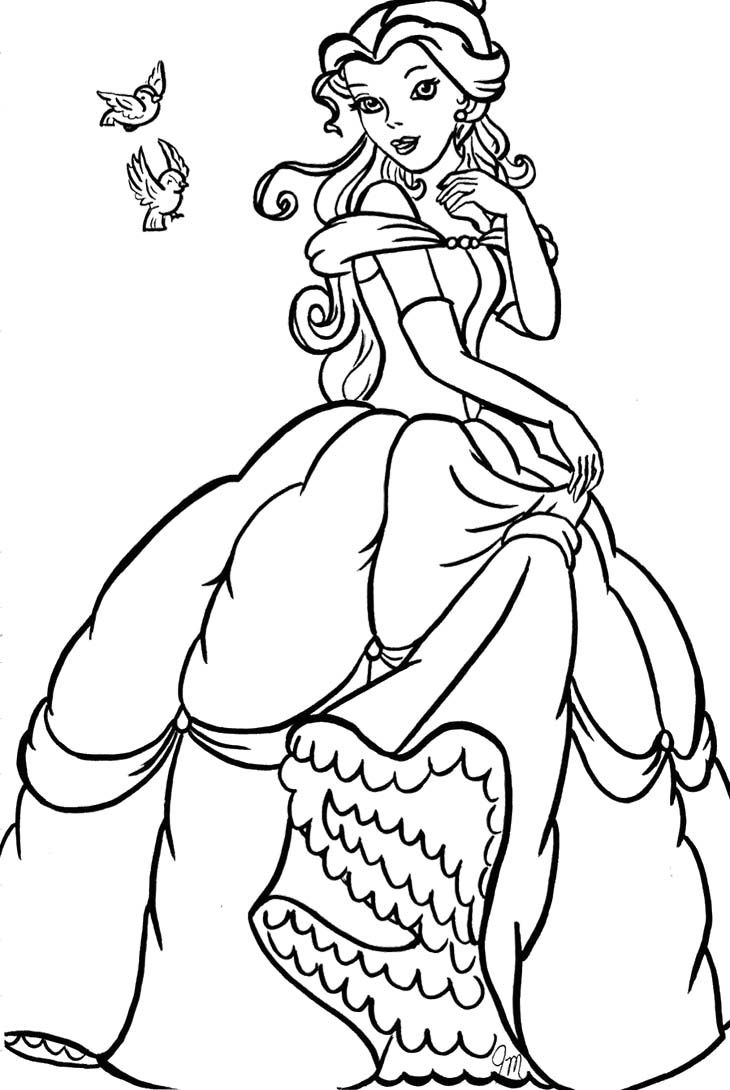 Princess Belle The Very Beautiful Coloring Pages   Coloring pages ...