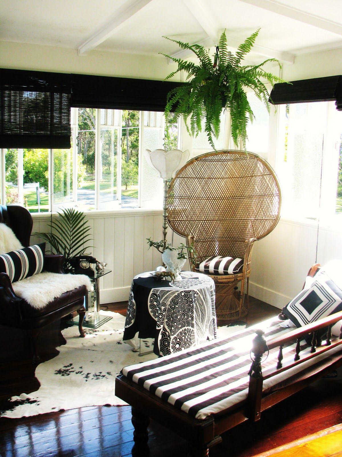 Black and white sunroom