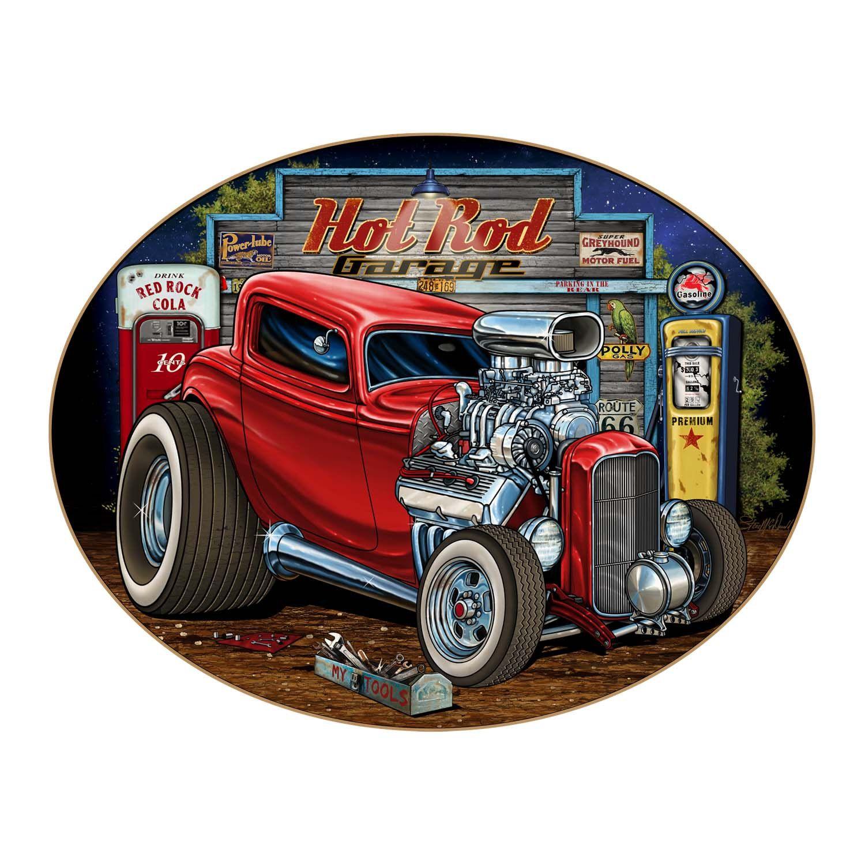 Hot Rod Garage Art On Oval Wood Sign Vintage Style Hot Rod