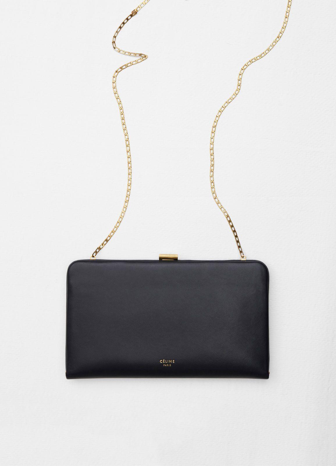 f6de74f8ead9 Clasp large wallet on chain in box calfskin