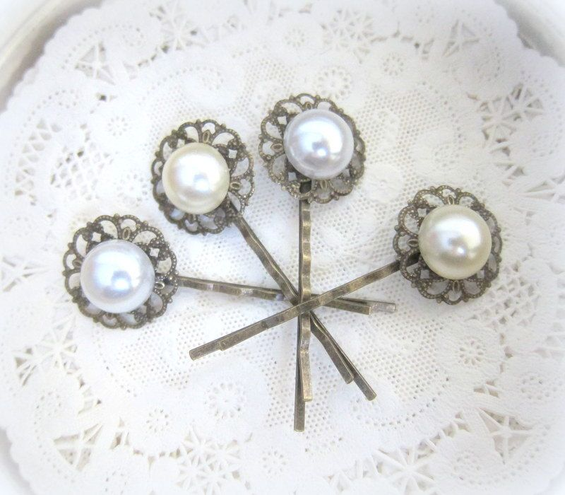 Pearl Hair Pins Set White Ivory Cream Wedding Bridal Hair Pin Bridesmaids Hair Accessories Gift Victorian Exotic Vintage Inspired Hair Slide by Jewelsalem on Etsy