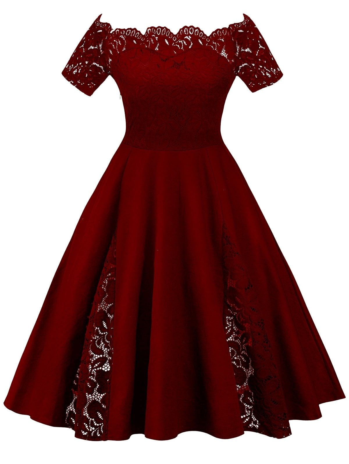 fe10e4ddbc3 Plus Size Off Shoulder Lace Panel Dress - WINE RED 2XL