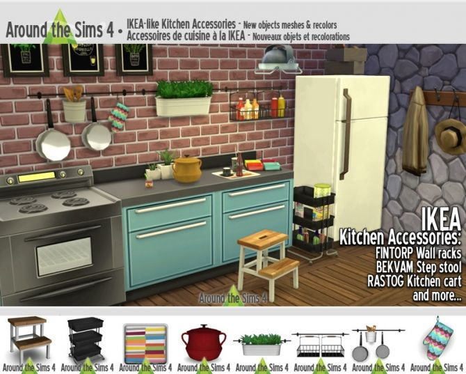 ikea like kitchen accessories at around the sims 4 via sims 4 updates sims 4 ideas pinterest. Black Bedroom Furniture Sets. Home Design Ideas