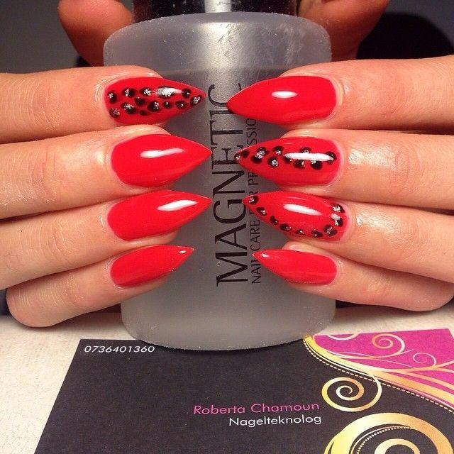 Red Stiletto Nails Google Search Unghie Glitter Pinterest