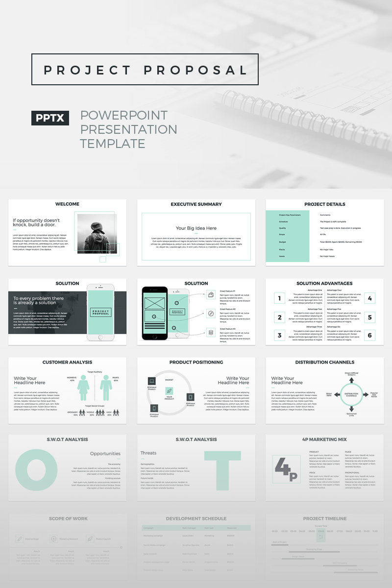 Project Proposal Powerpoint Presentation Template Design Bundle