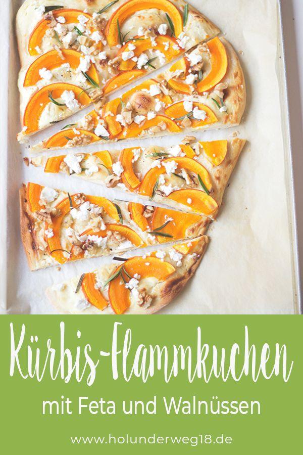Photo of Pumpkin tarte flambée with feta cheese and walnuts – Holunderweg18
