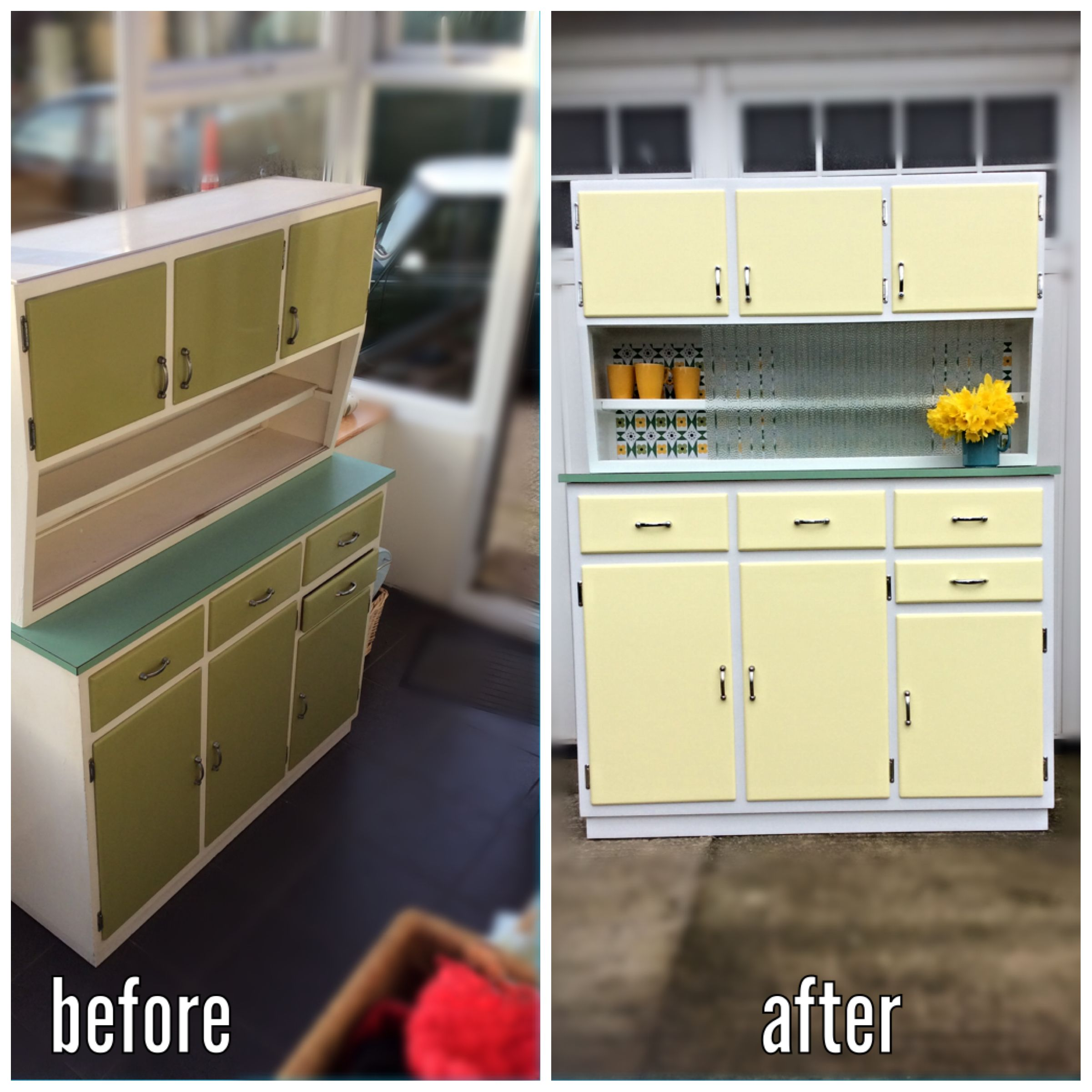refurbished 1960s kitchen cupboard and cabinet