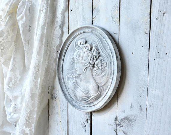 Shabby Chic Cameo Wall Plaque Victorian Lady White Oval Plaque Cottage Chic Wall Art Victorian Lady Shabby