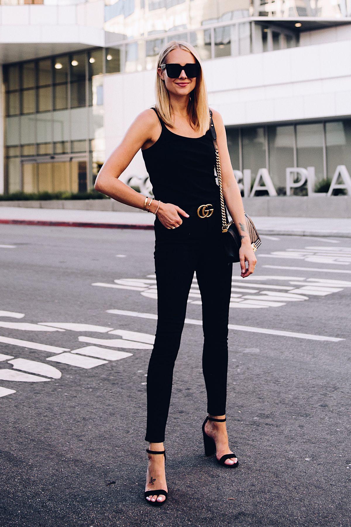 c961d155e84 Blonde Woman Wearing Topshop Black Tank Black Skinny Jeans Black Ankle  Strap Heeled Sandals Gucci Logo Belt Chanel Boy Bag BlackFashion Jackson  San Diego ...