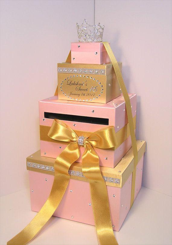 Quinceanera Sweet 16 Birthday Wedding Card Box White And Blush Pink