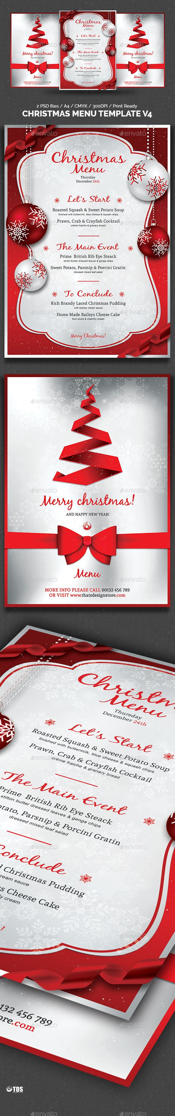Christmas Menu Template V4 Pinterest Menu Templates Template