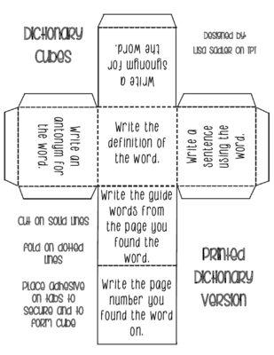 Dictionary Activity Cubes | Wörterbuch fähigkeiten
