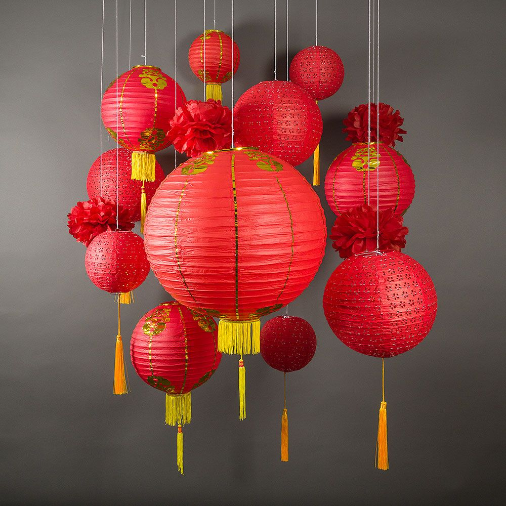 13 Pc Chinese New Year Hanging Decoration Paper Lantern Combo Set Chinese New Year Decorations Paper Lanterns Party Paper Lanterns Party Decor