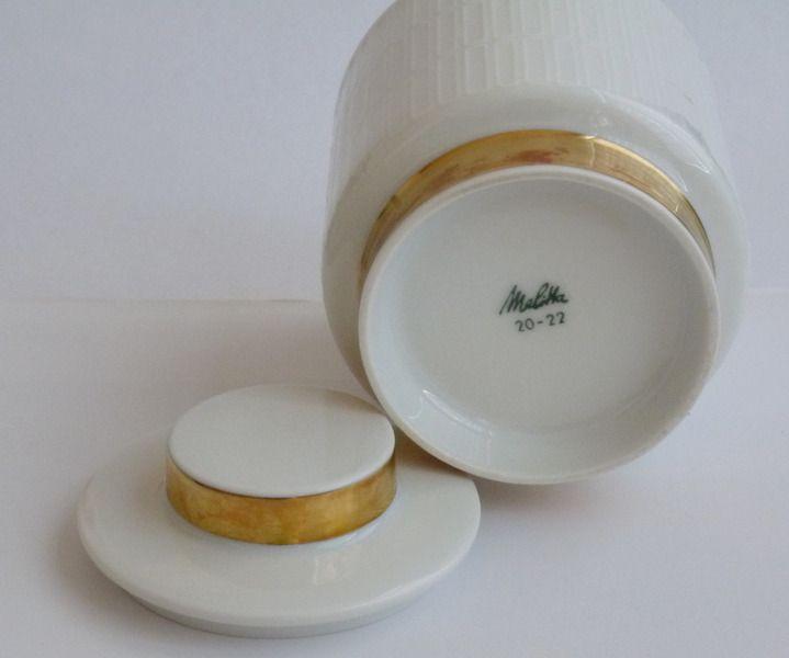 :: Zuckerdose Melitta Hamburg weiß mit Goldrand :: von zakkaya-vintage auf DaWanda.com 8.50 €