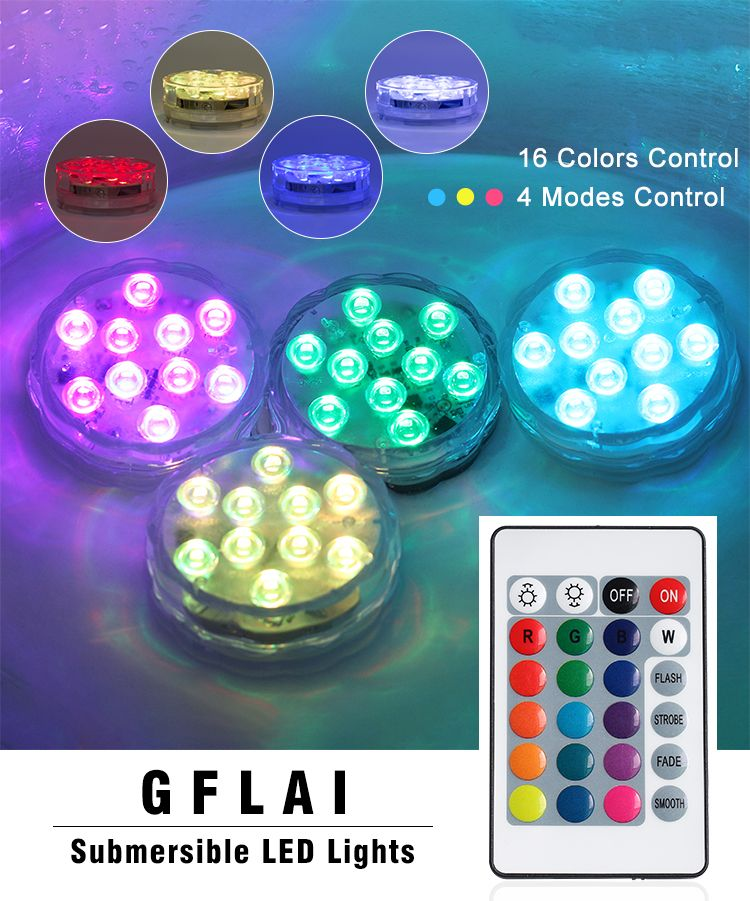 Factory Wholesale Rgb Waterproof Remote Controlled Submersible Led