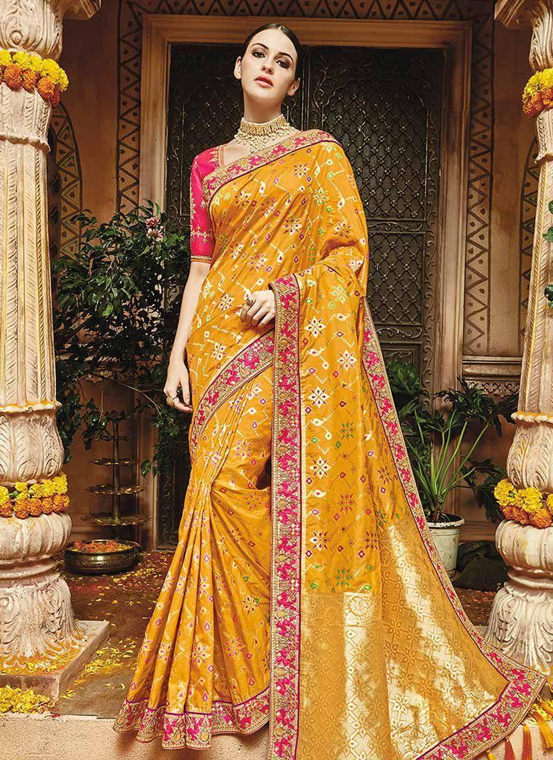 4a3738b651 Yellow pure banarasi silk saree wedding 1218 in 2019 | Silk Sarees ...