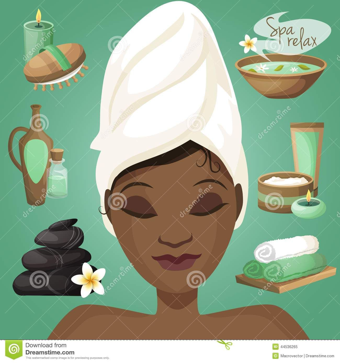 Black Woman Spa Healthcare Salon Wellness Icons Beautiful Face Vector Illustration 44536265 Jpg 1300 1390 Black Love Art Black Women Vector Illustration