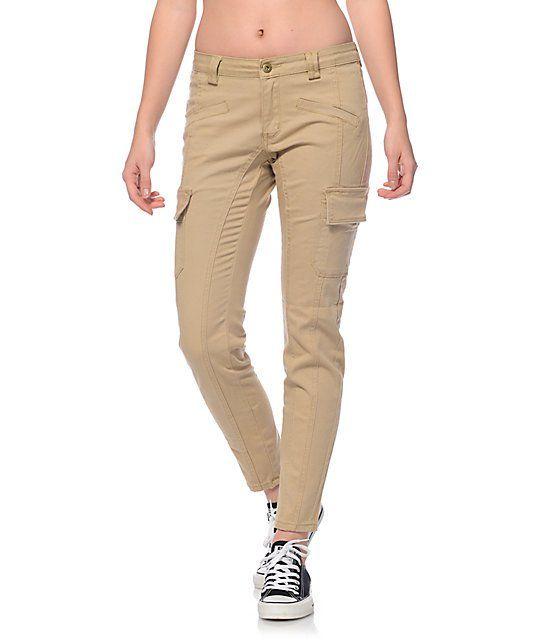Trillium Nala Khaki Cargo Pocket Skinny Pants | Khaki pants ...