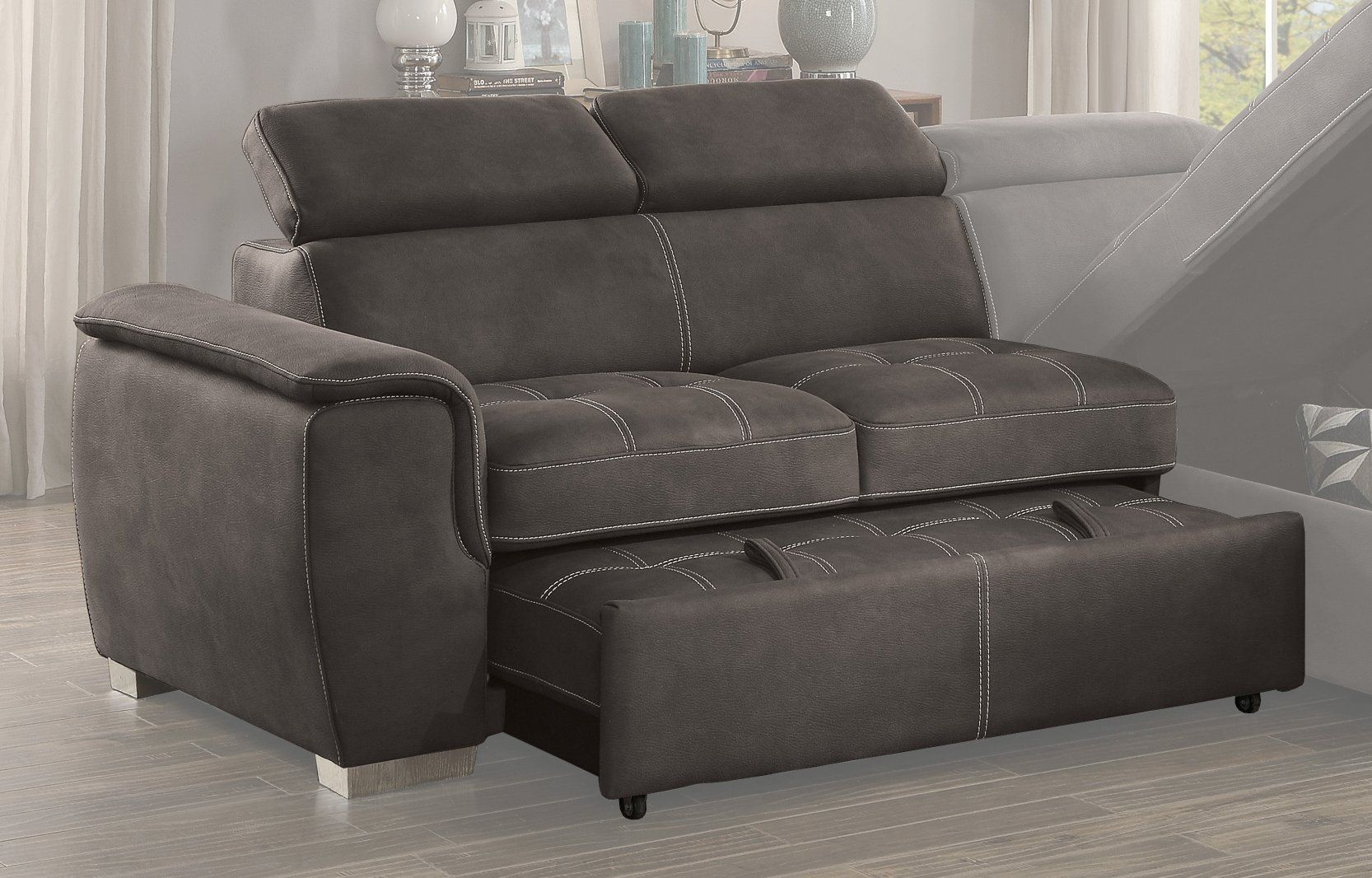 Amazing Taupe Sectional Sofa With Pullout Sofa Bed And Right Side Customarchery Wood Chair Design Ideas Customarcherynet