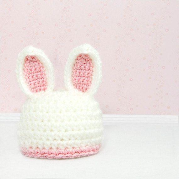 Crochet Bunny Hat Photo Prop, Baby Rabbit Beanie, Micro Preemie ...