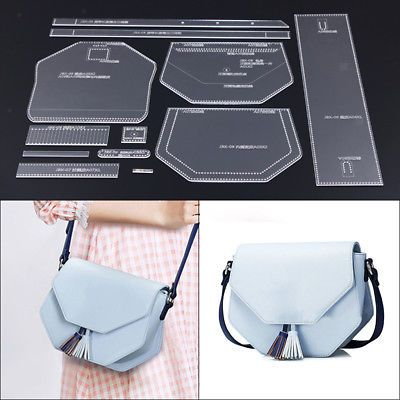 12Pcs DIY Leather Craft Acrylic Stencil Template Leather Shoulder Bag Making #setinstains