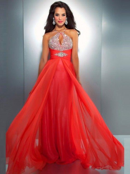 Halter Chiffon Floor Length Prom Dresses
