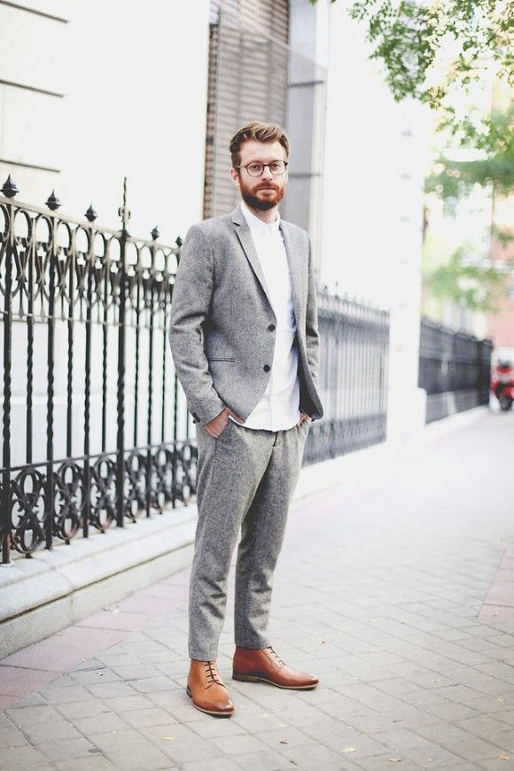 grey mens pants and light brown shoes | Grey Pants & Caramel Brown ...