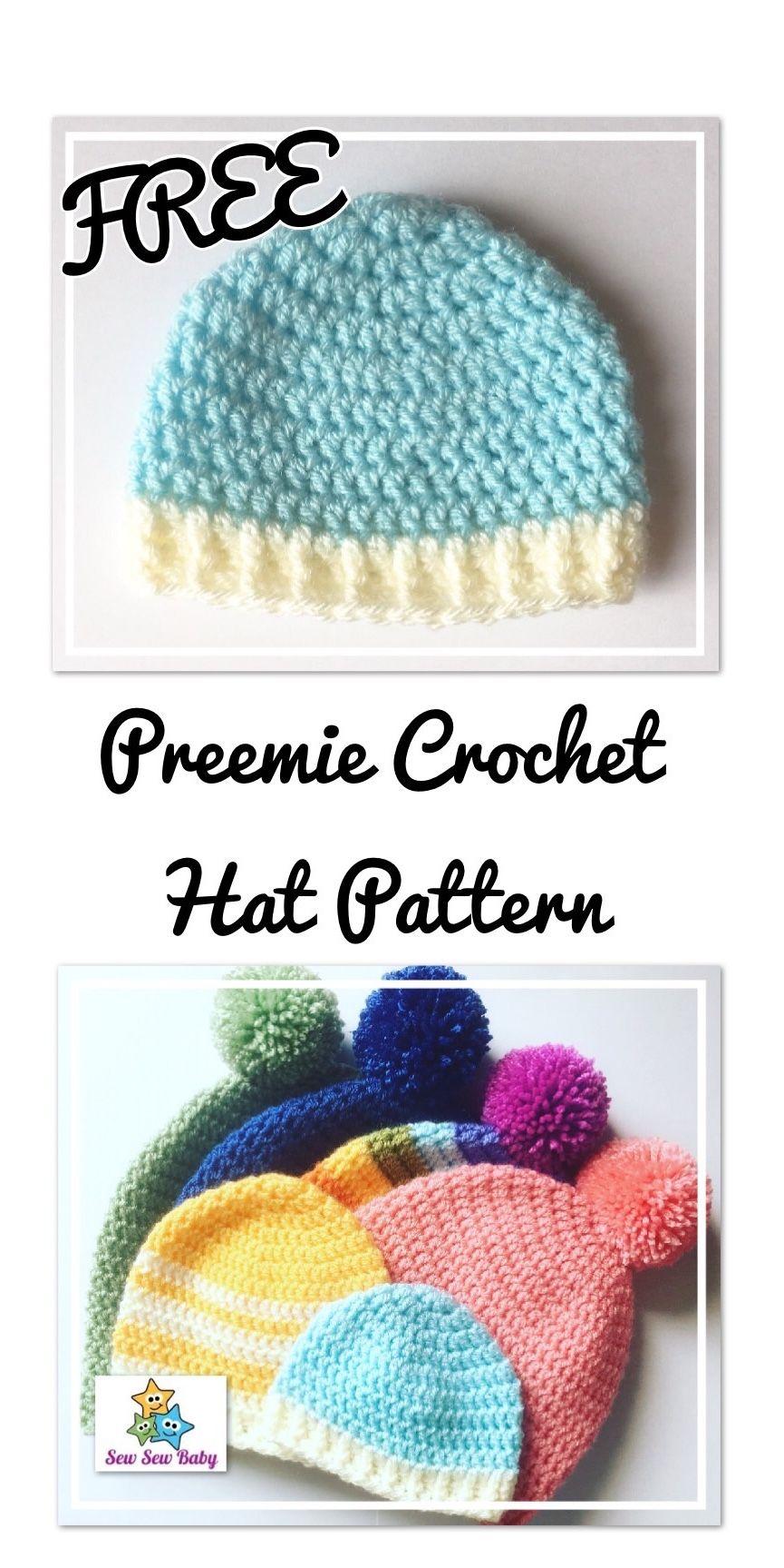 Free Preemie Crochet Hat Pattern | Crochet Baby Hats | Pinterest
